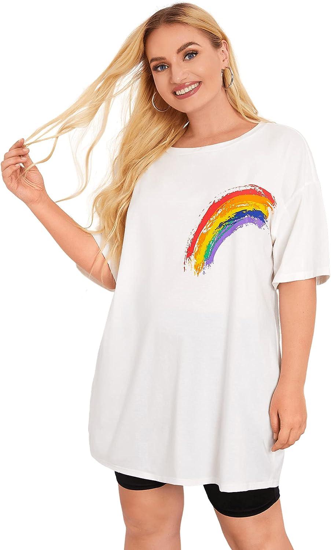 Romwe Women's Plus Size Cartoon Rainbow Tunic Tops Short Sleeve Casual T Shirt Tee