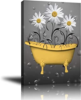 Wall decor Premium Giclee Canvas Wall Art, Abstract Canvas with White Gray Daisy, Framed Prints Pictures to Hang for Livingroom - Bedroom - Bathroom – Kitchen (Yellow)