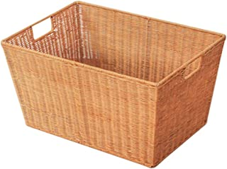 TIANLONG Storage basket Laundry Basket Storage Basket Bamboo Rattan Rectangular Household Bedroom Clothing Toys Sundries Storage  Color Yellow