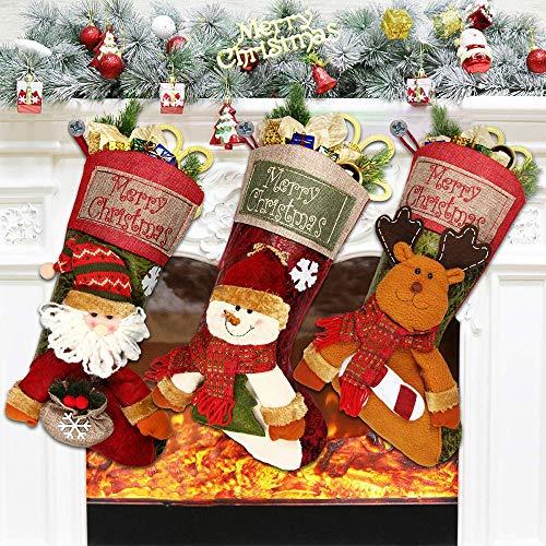 Flysee 3er Set Nikolausstiefel zum Befüllen, 46 * 25 cm, groß Weihnachtsstrumpf als Weihnachtsgeschenktasche, Nikolausstrumpf, Hängende Strümpfe für auf Kamin, Weihnachtsdeko