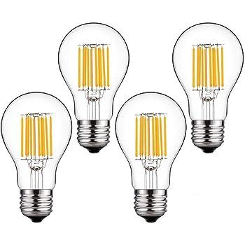 Bonlux - Filamento de bombilla LED, blanco natural, 4-pack 10w e27 a60 non-dim, E27: Amazon.es: Iluminación