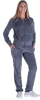 Women's 2 Piece Solid Velvet Tracksuit Set Full Zip-up Hooded Sweatshirts & Pants Set