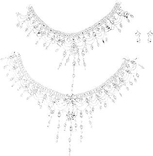 Baoblaze Prom Wedding Bridal Silver Jewelry Crystal Rhinestone Necklace Earring Set