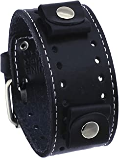 Nemesis Black Wide Leather Cuff Wrist Watch Band