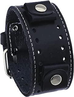 Nemesis Black Wide Leather Cuff Wrist Watch Band
