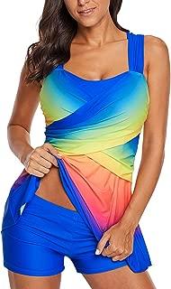 Womens Color Block Rainbow Criss Cross Back Tankini Swim Dress Swimwear and Shorts (M-3XL)