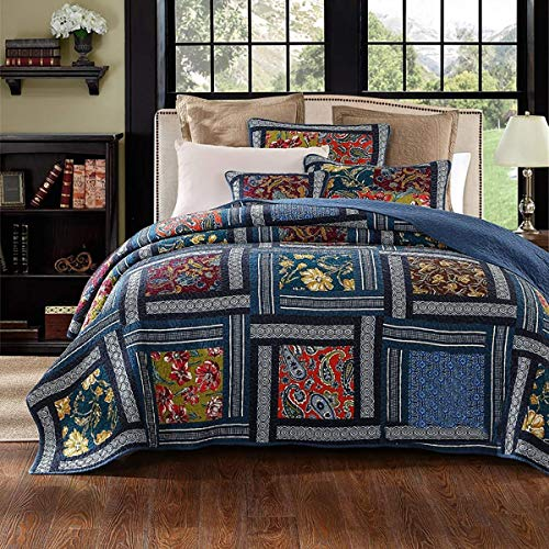 Bedspread Vintage Summer Blanket Cotton Patchwork Quilted Reversible Duvet for Four Seasons with 2 Pillow Cases, Colorful,Blue,230 * 250cm