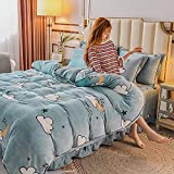 duvets Sets Autumn and Winter New Four-Piece Flannel Set Double-Sided Printing Thickening Warm Coral Fleece Kit Four-Piece Flannel Set-Flower_1.2m Three-Piece Suit