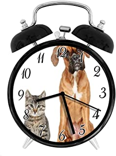 22yiihannz Boxer Dog 3.8-inch Silent Night Light Alarm Clock,Photo of a Cat and Dog Sitting Together Animal Friendship Pet Lover Concept,The Best Gift Choice for a Friend or Family