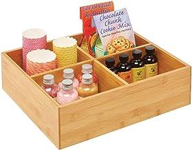 mDesign boite à thé – boite de rangement élégante à 4 compartiments en bambou – caisse en bois pour sachets et boule à thé...
