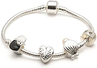 Liberty Charms Best Friend 'Pearl Lady' Silver Plated Charm/Bead Bracelet