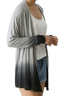 Women's Rayon Spandex Jersey DIP-DYE Front Open Long Sleeve Cardigan Big Size …