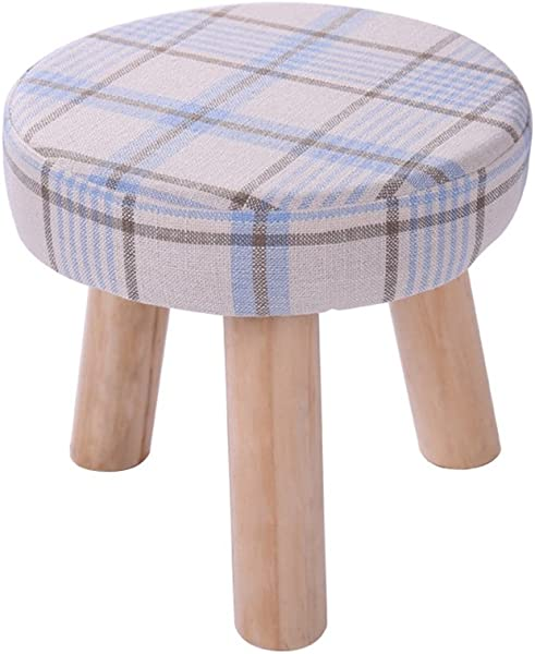 Fashion Solid Wood Shoes Stool 3 Legs Round Upholstered Footstool Sofa Low Stool Footrest Plaid