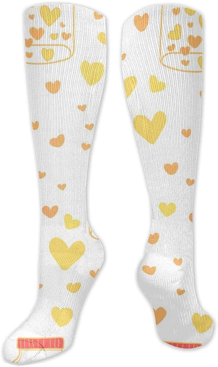 Yellow Love Heart Knee High Socks Leg Warmer Dresses Long Boot Stockings For Womens Cosplay Daily Wear