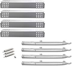 Uniflasy BBQ Gas Grill Burner Tube Pipe, Heat Shield Plate Tent Burner Cover and Crossover Tube Carry Over Channel Replacement Parts Kit for Charbroil 4 Burner 463241113, 463449914 Gas Grill Models