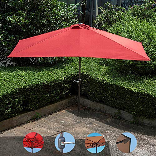 Parasol YXLZ Halb-Sonnenschirm 230x120x220cm Kurbel-Schirm Regenschirm Aus Edelstahl Marktschirm 5 Stahlrippen Gartenschirm Halbrund Balkon Halbschirm Balkonschirm