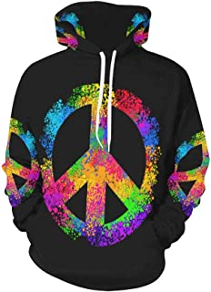 Cool Hippie Peace Sign Symbols Long-Sleeve All Over Print Women's Hoodie
