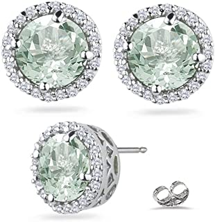 Stunning earrings for your lady love. The studs have the finest AAA quality round Green Amethyst sitting in a halo of H-SI color-clarity diamonds in 18K White Gold. Naturally occurring green Amethyst are very rare most gems are created by heated purple Amethyst gemstones.