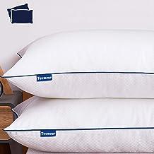 وسائد سرير للنوم من تيمور - 2 كيس وسادة لا تسبب الحساسية للنوم على الجانب والخلفي مجموعة فندقية بديلة تبريد الوسائد مع غطا...