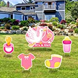 IT'S A GIRL Pink Yard Signs with Stakes –Girl Special Delivery - It's A Girl Stork Baby Shower Yard Sign Lawn Decorations - Party Yardy Sign-Welcome Home Baby Lawn Sign- Gender Reveal Baby Shower-5PCS