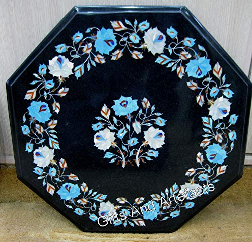 Plateau de table basse en marbre noir octagan de 61 cm avec pierres précieuses turquoise et coquille d'ormeau brillant avec travail incrusté, peut être utilisé dans la table basse de jardin