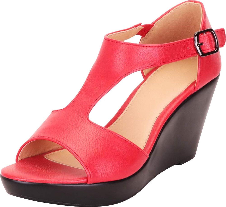 Cambridge Select Women's Open Toe T-Strap Chunky Platform Wedge Sandal