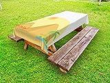 ABAKUHAUS Oasis Nappe Extérieure, Caravane de dromadaires Marching, Nappe de Table de Pique-Nique Lavable et Décorative, 145 cm x 305 cm, Sombre Moutarde Multicolor
