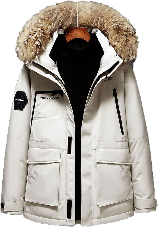 Men's Winter Down Jacket Hooded Parka Thick Faux Fur Hooded Coat Warm Outerwear Windproof Parka Puffer Jacket