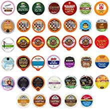 Coffee, Tea, Cider,Cappuccino, and Hot Chocolate Single Serve Cups For Keurig K cup Brewers, Perfect Sampler Pack, includes Hot Cocoa from Square and Crazy Cups, 40 Count