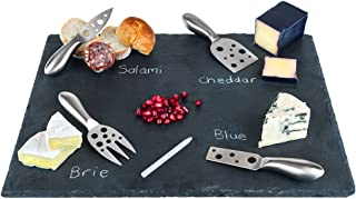 """Large Slate Cheese Board and Stainless Steel Cutlery Set 12"""" x 16"""" - Includes 4 Knives plus a Soap Stone Chalk, Perfect Ch..."""
