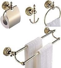 CASEWIND Handdoekhouder badkamer goud, badkamer accessoires set messing, 4-delige badkamer accessoires wandmontage toiletp...
