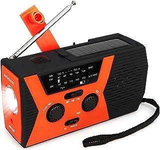 Retekess HR12W Portable Emergency Radio Solar Crank AM FM NOAA Dynamo with Reading Lamp SOS Flashlight LED Reading Lamp an...
