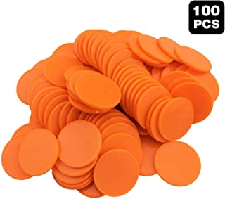 100 Pieces counters Counting Chips Plastic Round Markers 1Inch Opaque Plastic Learning Counters Mini Poker Chips Game Tokens for Bingo Chips (Orange)
