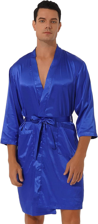 CHICTRY Men's Satin Kimono Robe Silk Long Sleeves Summer Printed Bathrobe Pockets Nightgown Robes
