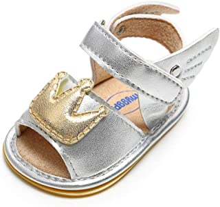 Baby Girls Summer Crown Sandals Pu Leather Rubber Sole Non-Slip First Walkers Shoes