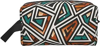 حقيبة مكياج كبيرة للسفر حقيبة مستحضرات التجميل منظم أدوات الزينة حقيبة سفر إكسسوارات للنساء والفتيات, هندسي أفريقي, 10*4....