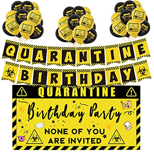 YogSpaty Quarantine Birthday Party Decorations Happy Quarantine Birthday Banner Balloons Kit Bday Backdrop for Social Distancing Decor Stay at Home Party Supplies