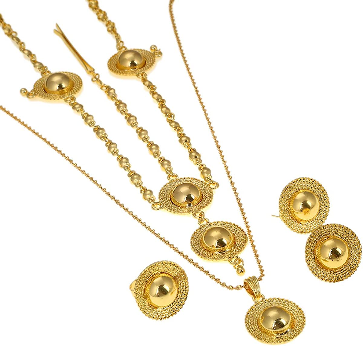 Ethiopian Jewelry Sets 24k Gold Plated 4pcs Hair Chain/Earrings/Ring/Pendant Chain Eritrean Women Jewelry (Gold)
