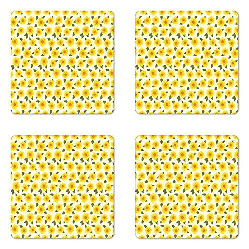 Lunarable Daffodil Coaster Set of 4, Retro Abstract Small Bedding Plants Flourishing Meadow Girls Kids Design, Square Hardboard Gloss Coasters for Drinks, Yellow Green Orange