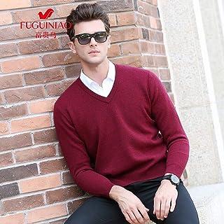 富贵鸟男士长袖针织纯羊毛商务休闲V领加厚保暖长袖羊毛衫