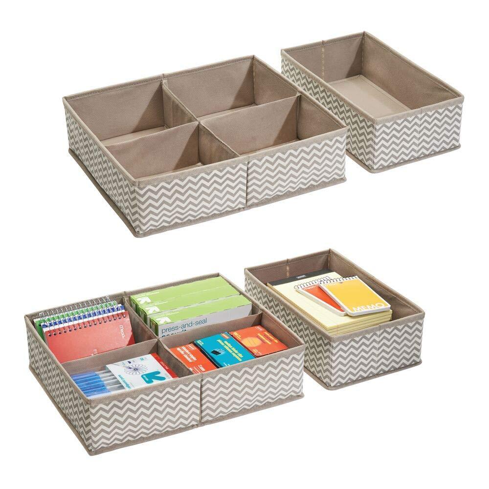 mDesign Juego de 4 separadores de cajones ? 10 compartimentos en total - Cajas organizadoras de tela para material de oficina, agendas, lápices, etc. ? Organizador de escritorio - Color: marrón topo: Amazon.es: Hogar