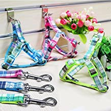 Tartan Plaid Dog Puppy Harness with Matching Leash Set in Pink, Blue or Green XS Small Medium Large Sizes