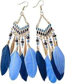 Monbedos Boucles d'oreilles Pendantes pour Femme, Bleu, 13 * 2.5cm