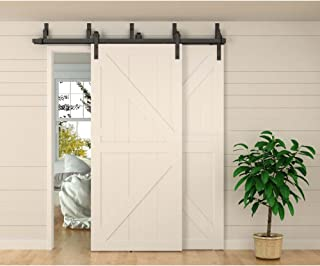 WINSOON 8ft Bypass Barn Door Hardware Sliding Kit 4-16FT for Interior Exterior Cabinet Closet Doors with Hangers(J Shape Roller)(4 Piece 4 Foot Rail)