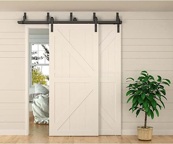 WINSOON 8ft Bypass Barn Door Hardware Sliding Kit 4 16FT For Interior Exterior Cabinet Closet Doors With Hangers J Shape Roller 4 Piece 4 Foot Rail