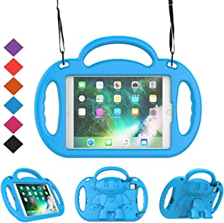 BMOUO Kids Case for iPad Mini 1 2 3 4 5 (2019) - Shoulder Strap Shockproof Handle Kickstand Case Cover for iPad Mini, Mini 2, iPad Mini 3, Mini 4, iPad Mini 5 2019 Tablet - Blue