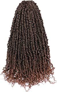 Toyotress Tiana Passion Twist Hair Ombre Brown 8 Packs(12 strands/pack) Pre-Twisted Passion Twists Crochet Hair Pre-Looped Crochet Braids Synthetic Braiding Hair Extension (20 inch, T1B/30)