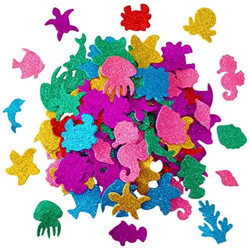 Glitter Colorful Sea Animals Shapes Foam Stickers Self Adhesive Kid's Arts Craft Supplies for Greeting Cards DIY Scrapbooking Cards Wall Creative Toys Home Decoration (Random Colors)