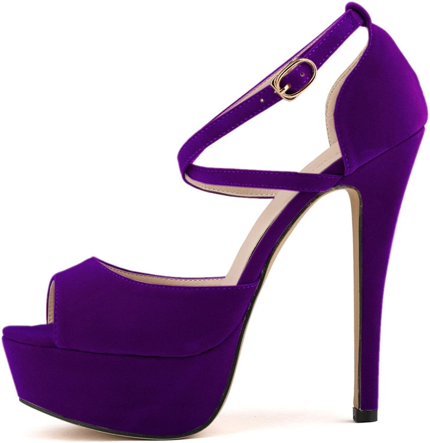 ZriEy Women Sandals 14CM   5.5 inches High-Heeled Peep Toe Platform Party Sandals for Wedding Working shoes Double color