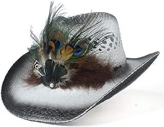 Lady's Sun hat Summer Fashion 100% Handmade Shuck Women Men Empty Western Cowboy Hat Lady Bohemia Peacock Feather Sombrero Hombre Cowgirl Jazz Sun Caps Sun hat (Color : White, Size : 56-58)